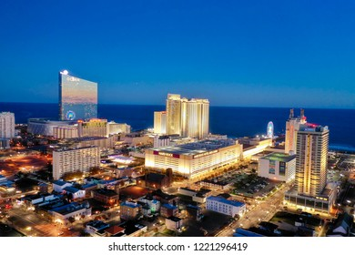 Atlantic City N.J/USA/Nov. 4 2018: Aerial view of Atlantic City skyline.