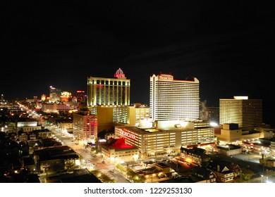 Atlantic City N.J/USA/Nov. 4, 2018: Night shot of Atlantic City skyline.