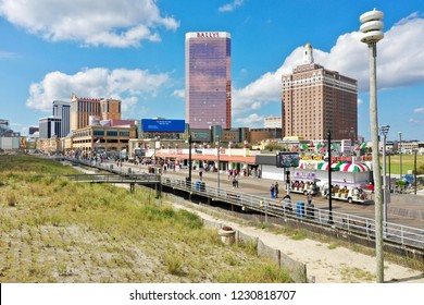 Atlantic City N.J/USA/Oct. 22, 2018: Aerial view of Atlantic City skyline showing off its best tourism season in many years , thanks to the two new casinos, Ocean Resorts and the Hard Rock.