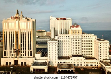 Atlantic City, NJ/USA/Sept. 20 2018: Atlantic city skyline, showing Resorts Hotel and Casino along with the Hard Rock and the closed Showboat building.
