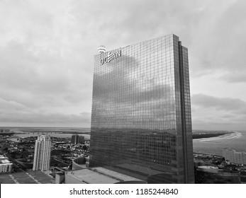 Atlantic City N.J/USA/Sept. 20 2018: Aerial view in black and white of Ocean Resorts casino in Atlantic city N.J.
