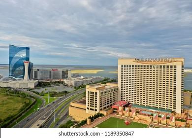 Atlantic City N.J/USA/Sept. 22, 2018; Aerial view of Golden Nugget and Harrahs  casino in Atlantic City N.J .