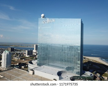 Atlantic City, NJ/USA/Sept. 4, 2018: Ariel view of the Ocean Hotel and Casino in Atlantic City NJ.