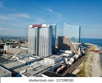 Atlantic City, NJ/USA/Sept. 4, 2018: Ariel view of the  Hard Rock Casino  and Ocean casino in Atlantic City N.J.