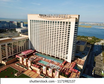 Atlantic City, NJ/USA/Sept. 4, 2018: Ariel view of the Golden Nugget in Atlantic City N.J.