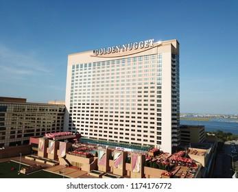 Atlantic City N.J/USA/Sept. 7 2018: Ariel view of the Golden Nugget in Atlantic City N.J.