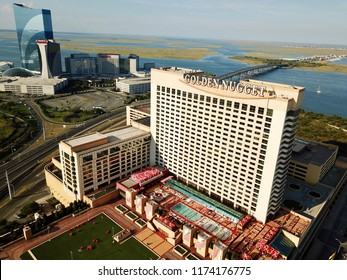 Atlantic City N.J/USA/Sept. 7 2018: Ariel view of the Golden Nugget in Atlantic City N.J.