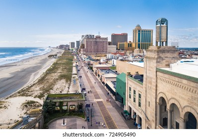 ATLANTIC CITY, USA - SEPTEMBER 20, 2017: Atlantic city boardwalk aerial view. Boardwalk is the hub of casinos, restaurants and travel spots