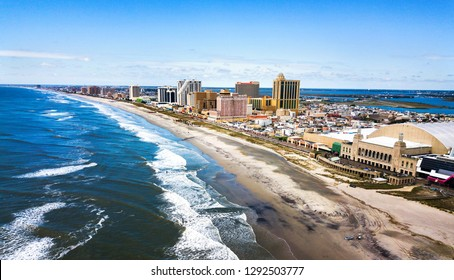 Atlantic city waterline aerial view in New Jersey USA
