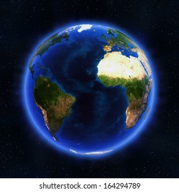 Atlantic globe. Elements of this image furnished by NASA