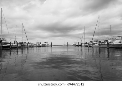 ATLANTIC HIGHLANDS, NEW JERSEY - July 27, 2017: Boats are docked at the municipal marina on Simon Lake Drive.
