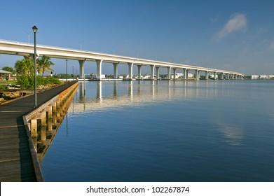 atlantic intracoastal and highway us1 roosevelt bridge in stuart florida