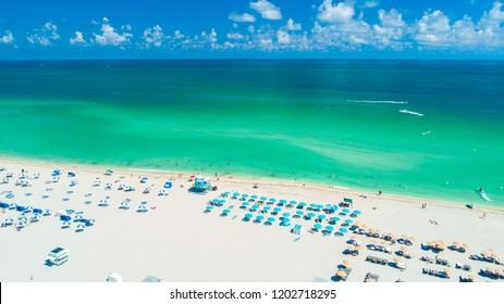 Atlantic ocean. Aerial view of Miami Beach, South Beach, Florida. USA.