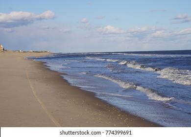 Atlantic Ocean, Beach, Hamptons, Long Island, New York, Suffolk County in Winter, 2017