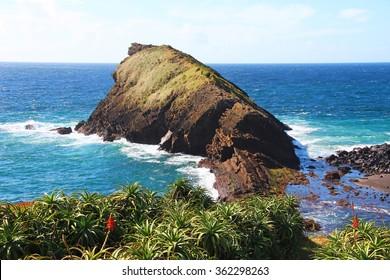 Atlantic ocean coast near Ponta Delgada on Sao Miguel island, Azores, Portugal