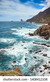 Atlantic Ocean coast of Tenerife near Taganana village, Macizo de Anaga mountain range, Spain.