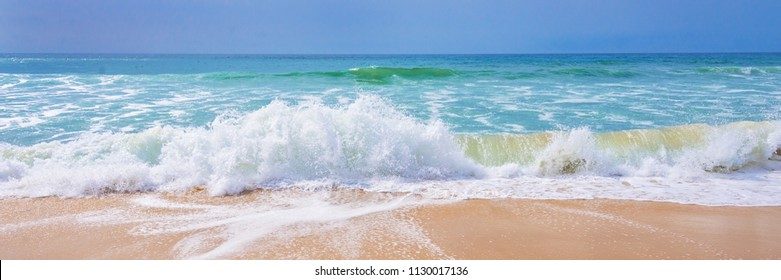 Atlantic ocean, front view of waves on the beach