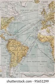 Atlantic ocean old map. By Paul Vidal de Lablache, Atlas Classique, Librerie Colin, Paris, 1894