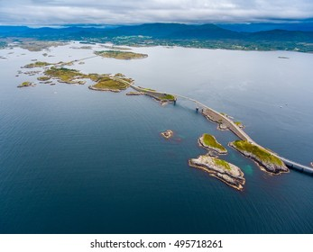 """Atlantic Ocean Road or the Atlantic Road (Atlanterhavsveien) been awarded the title as """"Norwegian Construction of the Century"""". The road classified as a National Tourist Route. Aerial photography"""