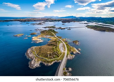 "Atlantic Ocean Road or the Atlantic Road (Atlanterhavsveien) been awarded the title as ""Norwegian Construction of the Century"". The road classified as a National Tourist Route. Aerial photography"