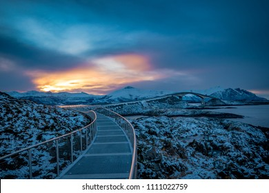 Atlantic Ocean Road in Norway winter sunset