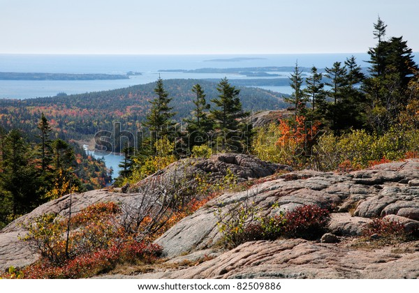 The Atlantic Ocean Seen From Cadillac Mountain, Acadia National Park, Maine, USA