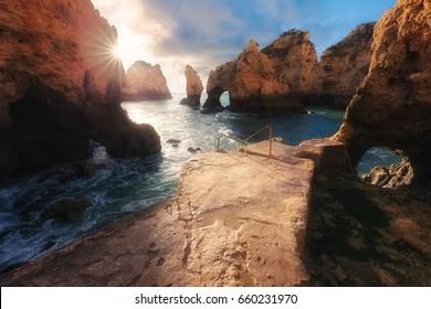 Atlantic ocean sunrise. Algarve, Portugal