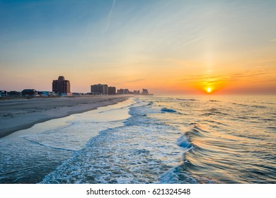 The Atlantic Ocean at sunrise, in Ventnor City, New Jersey.