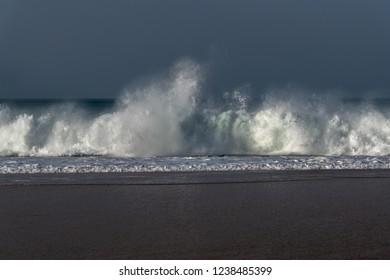 Atlantic ocean wave next to Nazare, Portugal.