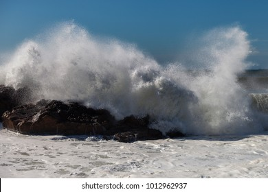 Atlantic ocean wave at Portugal coast.