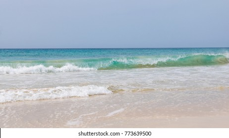 Atlantic Ocean waves crashing on Santa Monica Beach, Boa Vista, Cape Verde
