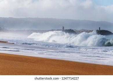 Atlantic ocean waves at Portugal coast next to Nazare city.