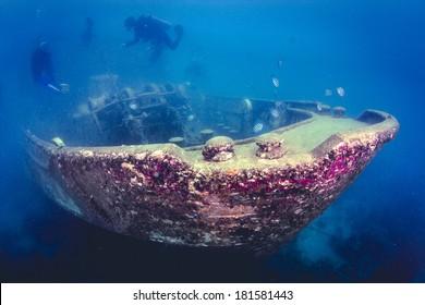 Atlantic Princes Shipwreck Underwater in the Caribbean Sea, Bayahibe, Dominican Republic.