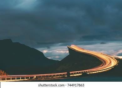 Atlantic road night in Norway Storseisundet bridge transportation way to sky scandinavian travel landmarks