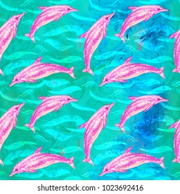 Atlantic Spotted dolphin in pink color palette, hand painted watercolor illustration, seamless pattern on blue, green ocean surface with waves background