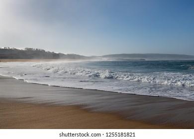 Atlantic wave on Nazare city beach, Portugal.