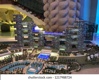 Atlantis the Palm, Dubai - October 31. 2018 - model of the new Royal Atlantis Residence