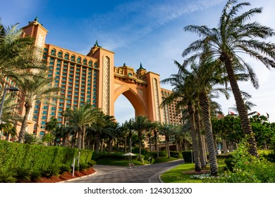 Atlantis Palm hotel at the end of the palm island in Dubai