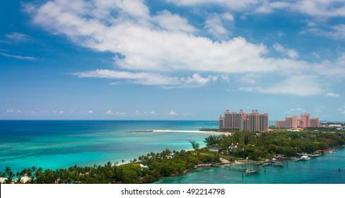 Atlantis and Paradise Island View of Paradise Island and Atlantis, Nassau Bahamas.