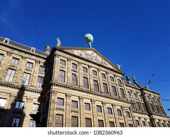 Atlas carrying the world on the Dam Palace in Amsterdam 05012018