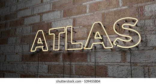 ATLAS - Glowing Neon Sign on stonework wall - 3D rendered royalty free stock illustration.  Can be used for online banner ads and direct mailers.