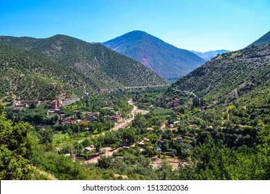 The Atlas Mountains of Morocco, Berber villages and riven with canyons and ravines within Toubkal National Park.