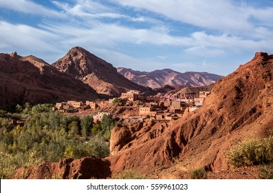 ATLAS MOUNTAINS, MOROCCO - NOVEMBER 15, 2016: Village in the Atlas Mountains view from the road on November 15, 2016 in Morocco.