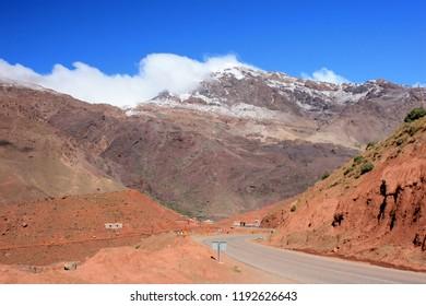 Atlas mountains, snowy scene, Morocco