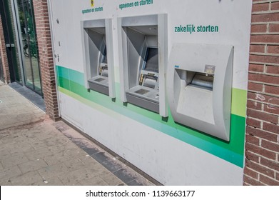 ATM Of The ABN-AMRO Bank At The Ceintuurbaan Street At Amsterdam The Netherlands 2018