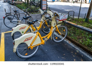 ATM Bike Me Sharing Service Bicycles in Milan,taly-October 2018