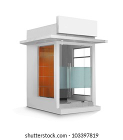 ATM booth or glass construction building against white background