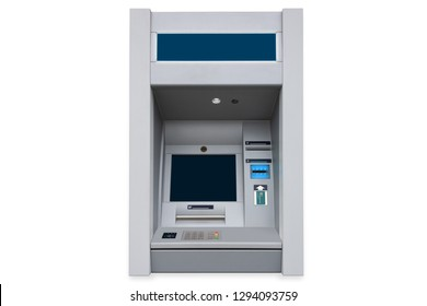ATM cash machine with empty screen and contactless payment card support isolated on white background with pail shadow
