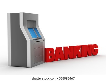 ATM machine with banking concept