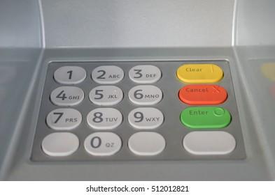 ATM machine button keypad  protection password.